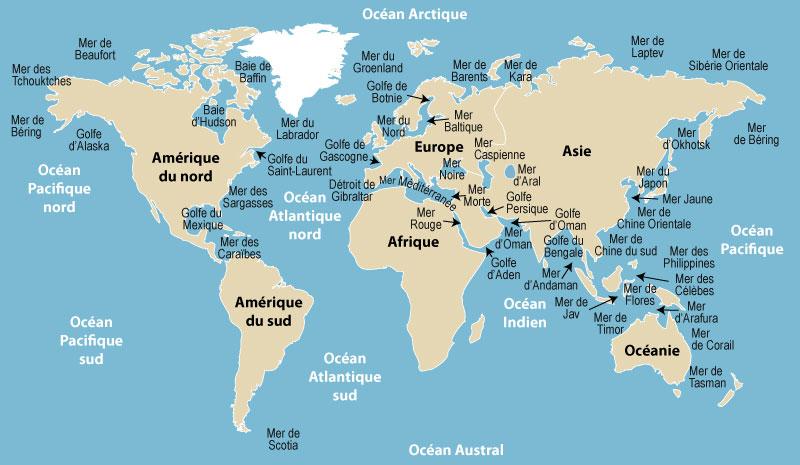 carte europe ocean et mer